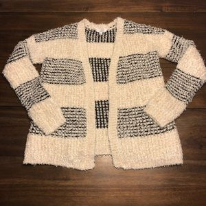 Charming Charlie Black and Cream Fuzzy Sweater